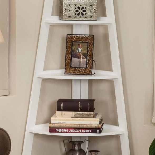 63 X 26 5 Five Tier Corner Ladder Shelf White Danya B Deco
