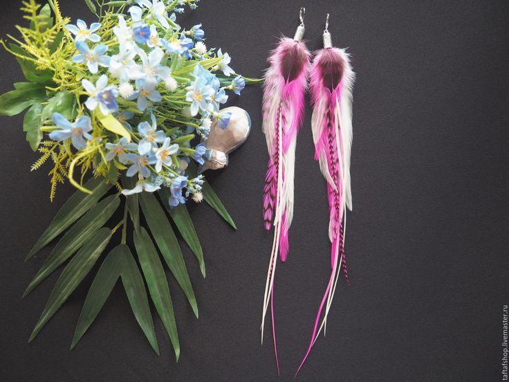 Сокровища фламинго - розовые серьги с перьями в стиле бохо - перья, перо, серьги с перьями