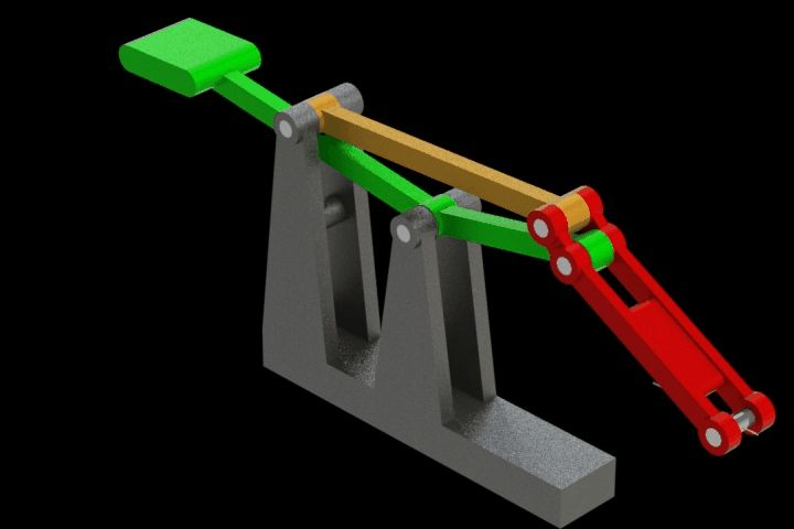 Straight line mechanism with 4 bars - STEP / IGES,STL,SOLIDWORKS,Parasolid - 3D CAD model - GrabCAD