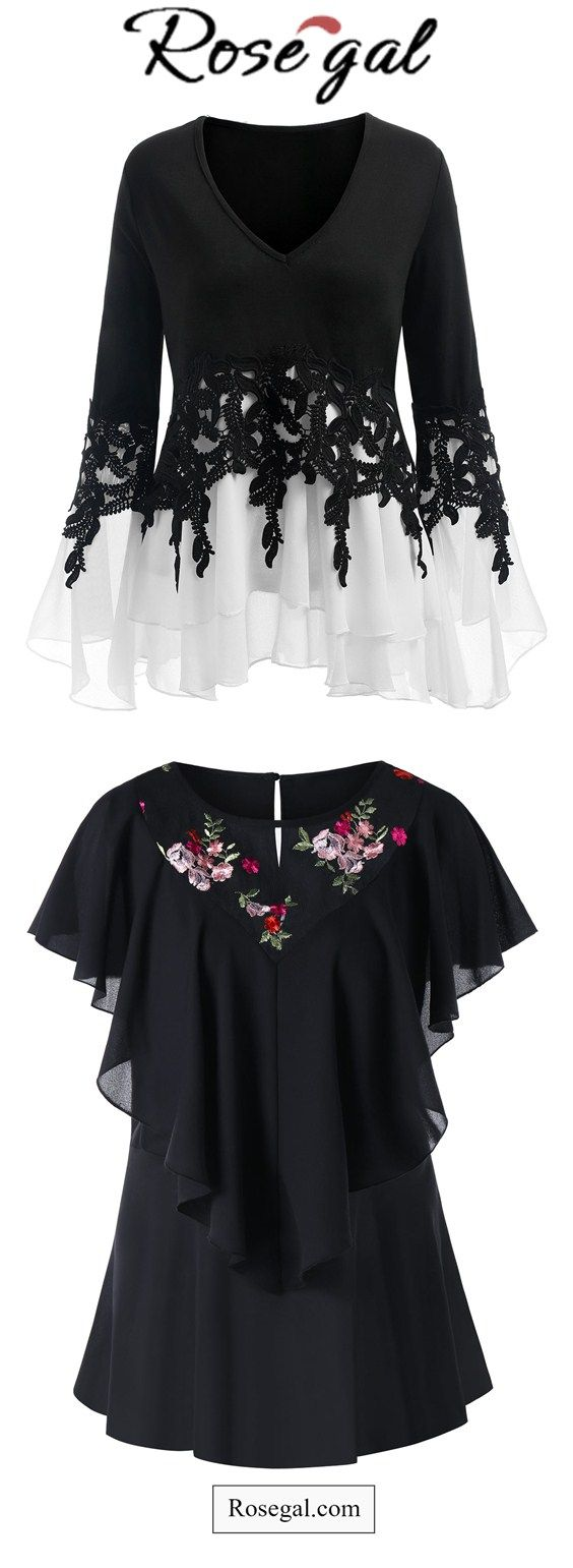 Free shipping worldwide.Plus Size Embroidered Mesh Panel Flounce Blouse. #plussizeoutfits #blouses #womensfashion #summer #spring #ideas