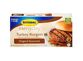 """Broiling:Preheat broiler. Lightly spray or brush both sides of FROZEN turkeyburgers with oil and place on broiler pan about 4"""" under heat.Broilburgersfor 7 minutes on each side or until done and a meat thermometer inserted incenter of burger registers 165°F.  Repeat for pan frying, brushing pan of burgers with oil and cooking for 7-9 mins per side"""