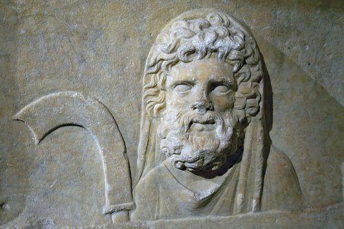 Face droite de l'autel dédié au dieu Malakbêl et aux dieux de Palmyra orné d'un bas-relief représentant le dieu Silenius tenant une faucille.  - NCE2412 - Grande galerie du Tabularium - Musei Capitolini | por petrus.agricola