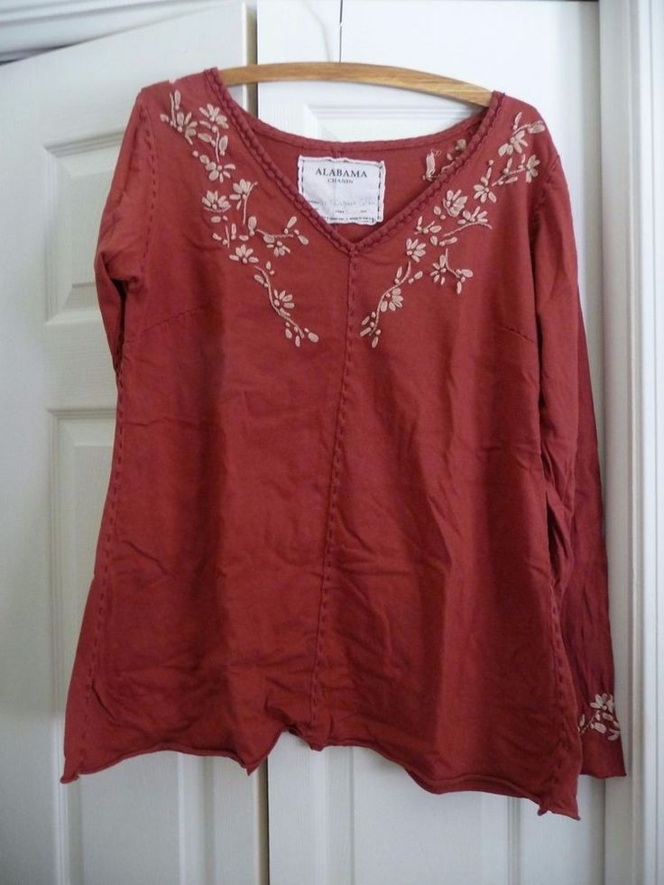 Alabama Chanin Long Sleeve Pullover Size XL Ruby With Climbing Daisy Embroidery