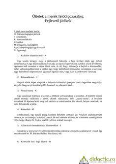 Idei pentru prelucrarea poveștilor Ötletek a mesék feldolgozásához   Didactic.ro