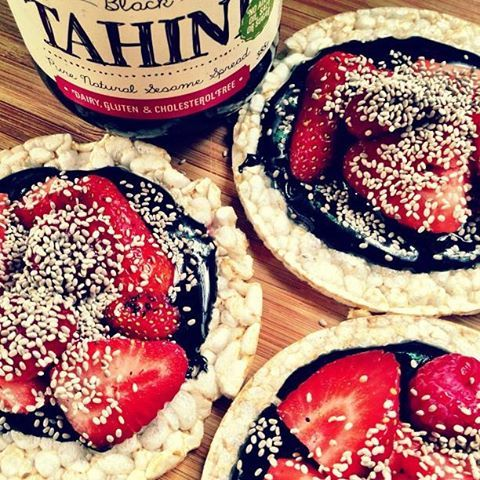 Nothing like a #sugarfree super sesame calcium hit on a Monday afternoon! Just #mayvers #blacktahini on rice cakes with chia seeds and fresh strawberries - yummm....