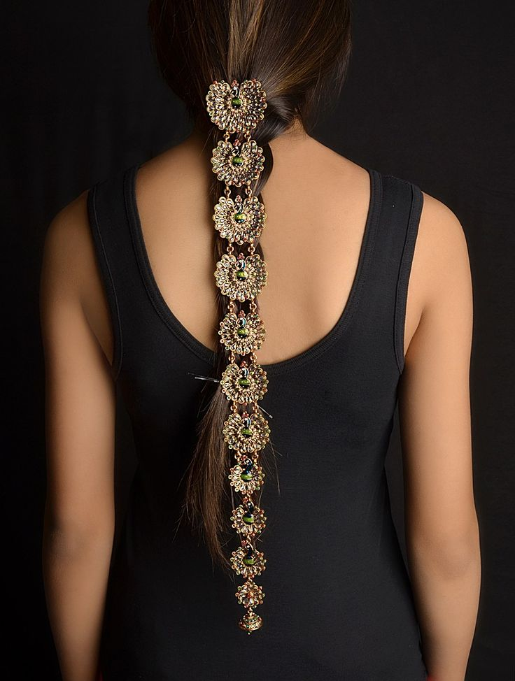 https://www.bkgjewelry.com/ruby-earrings/821-14k-yellow-gold-clip-on-ruby-snake-earrings.html Braid Accessory - Peacock Kundan Jewelry.. I love this piece, so unique!