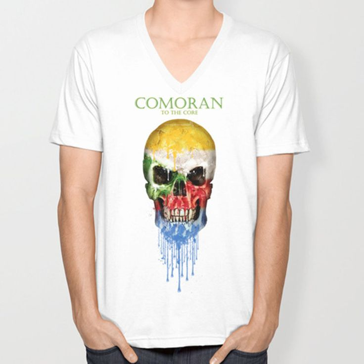 >> Click to Buy << Comoros skull flag New Fashion Men's V-neck T-shirts Short Sleeve summer Mens tshirt Male Tops Tees Wholesale #Affiliate