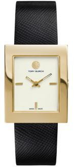Tory Burch Buddy Classic Goldtone Stainless Steel & Saffiano Leather Strap Watch/Black