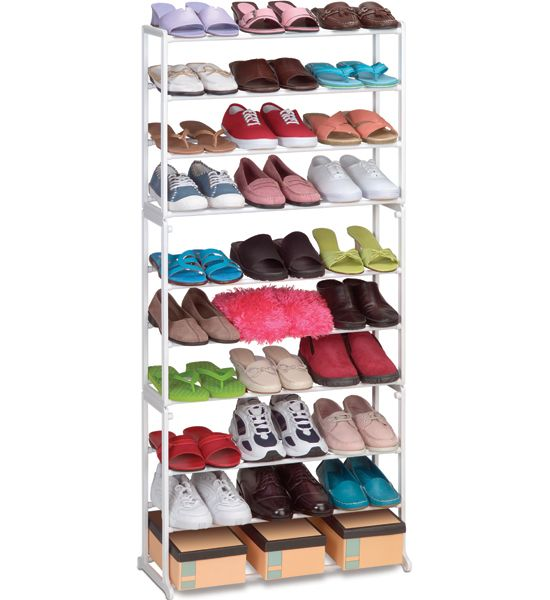 Keep your shoes stored and organized in any corner of your home with this 30 Pair Stackable Shoe Rack.