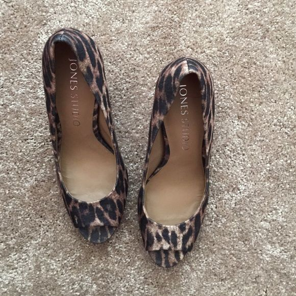 ONE DAY SALE ❤️ Cheetah Heels Cheetah toe peep heels; super cute and worn once Shoes Heels