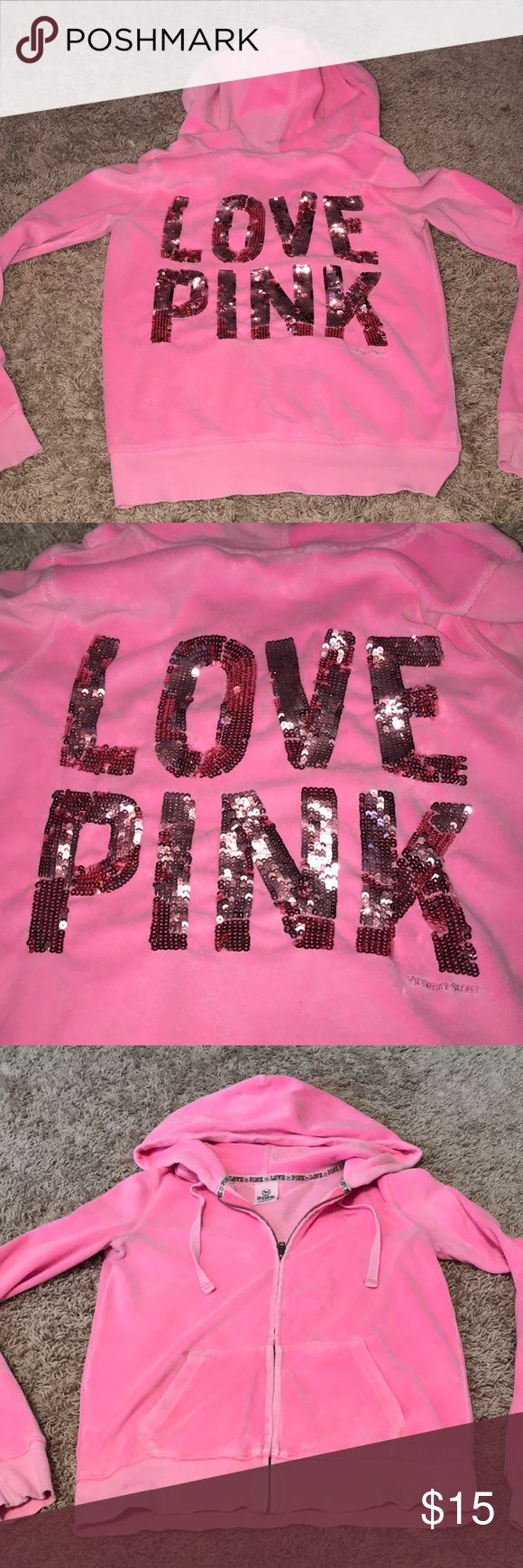 Victoria's Secret Pink zip up hoodie! No damage to the sequence!!! Great condition- keeps you warm! Love the neon color :) PINK Victoria's Secret Tops Sweatshirts & Hoodies