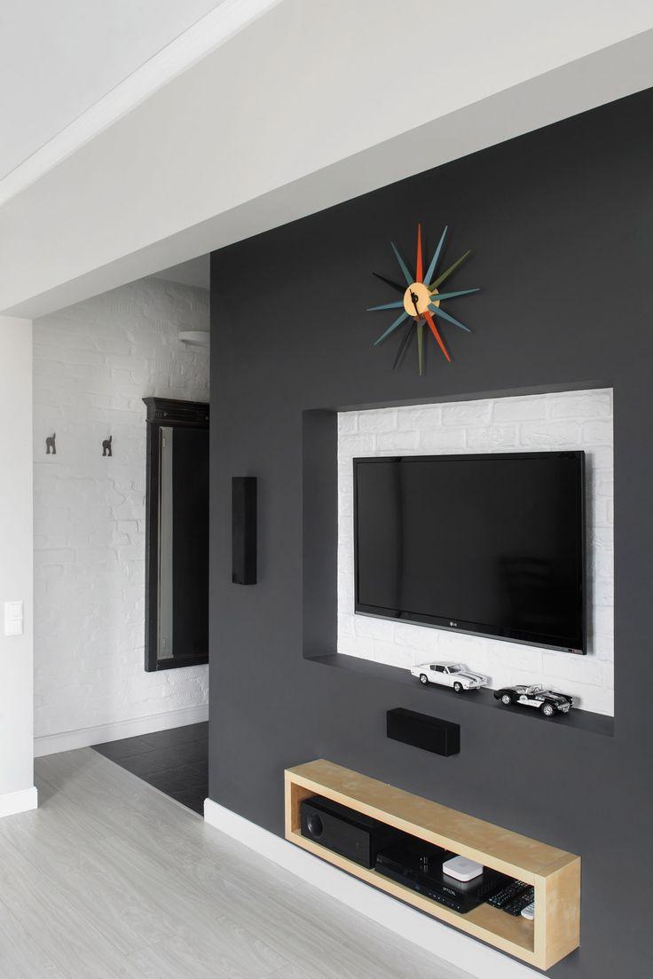 ниша под телевизор в дизайне студии в хрущевке