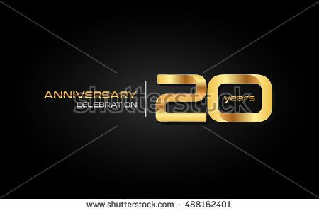 20 years gold anniversary celebration logo, isolated on dark background