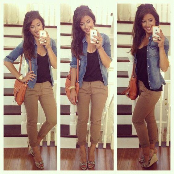 Women Khaki Pant Outfits- 20 Ways Girls can Wear Khaki Pants 15