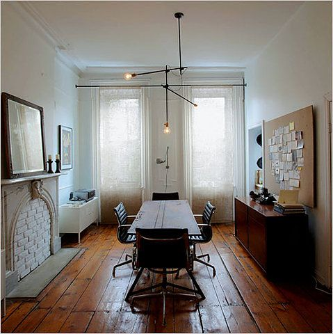 a Brooklyn apartment: Pendants Lamps, Dining Rooms, Spaces, Pine Floors, Lights Fixtures, Trav'Lin Lights, Brooklyn Apartment, Burlap Curtains, Pipes Curtains Rods