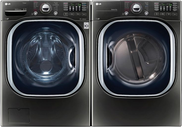 LG LGWADRE43712 Side-by-Side Washer & Dryer Set with Front Load Washer and Electric Dryer in Black Stainless Steel