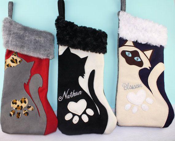 THREE CUSTOM Cat Christmas Stocking Caturday by TheStockingShoppe