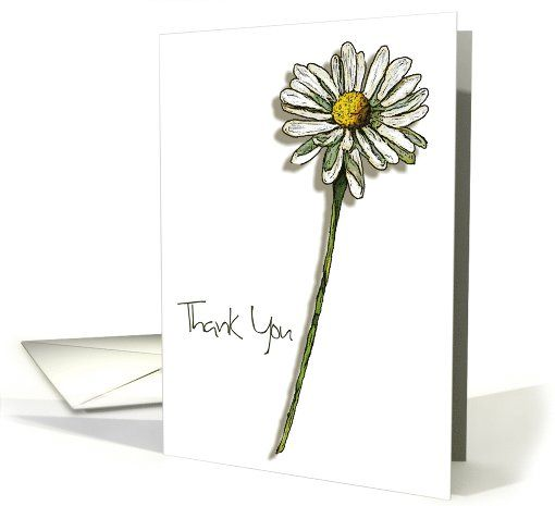 simple card thank drawing cards drawings greeting flower gift general daisy easy flowers pencil