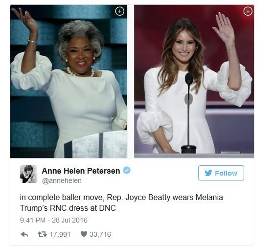 At the DNC, Rep. Joyce Beatty makes a statement by wearing the same dress Melania Trump wore during her speech at the RNC.