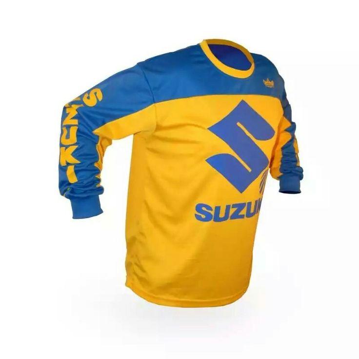 Vintage Style Suzuki Motocross Jersey MX Enduro AHRMA motorcycle