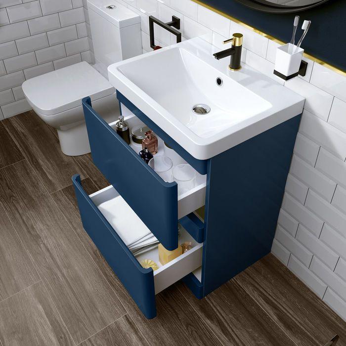 600mm Denver Matte Blue Built In Basin Drawer Unit Floor Standing Bathroom Vanity Units Blue Bathroom Interior Blue Vanity