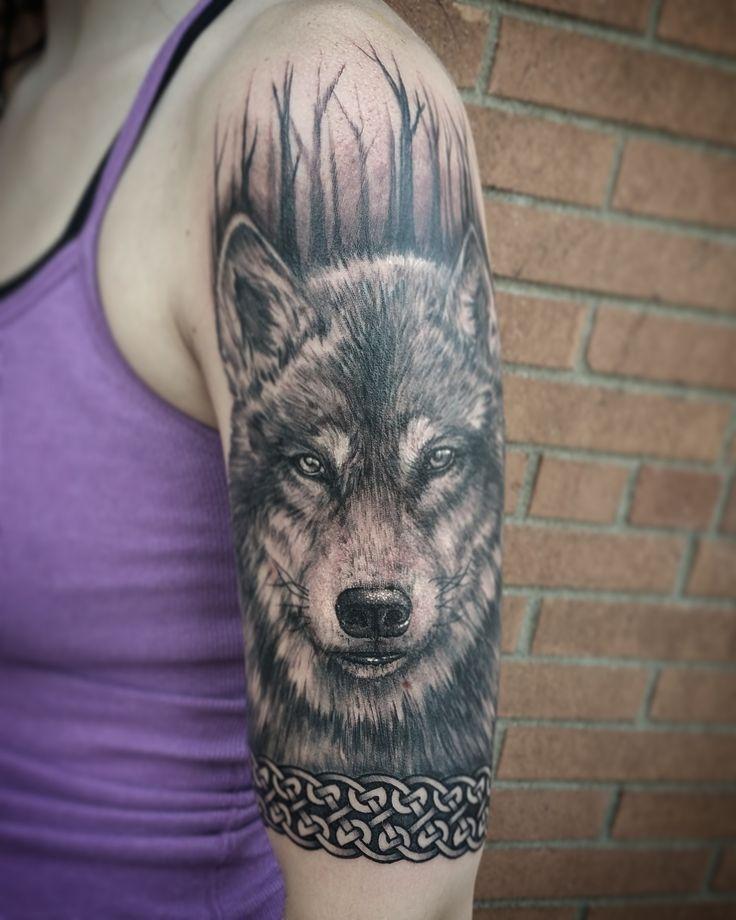 Wolf half sleeve panel by me Logan Bramlett Wanderlust Tattoo Society Akron Ohio