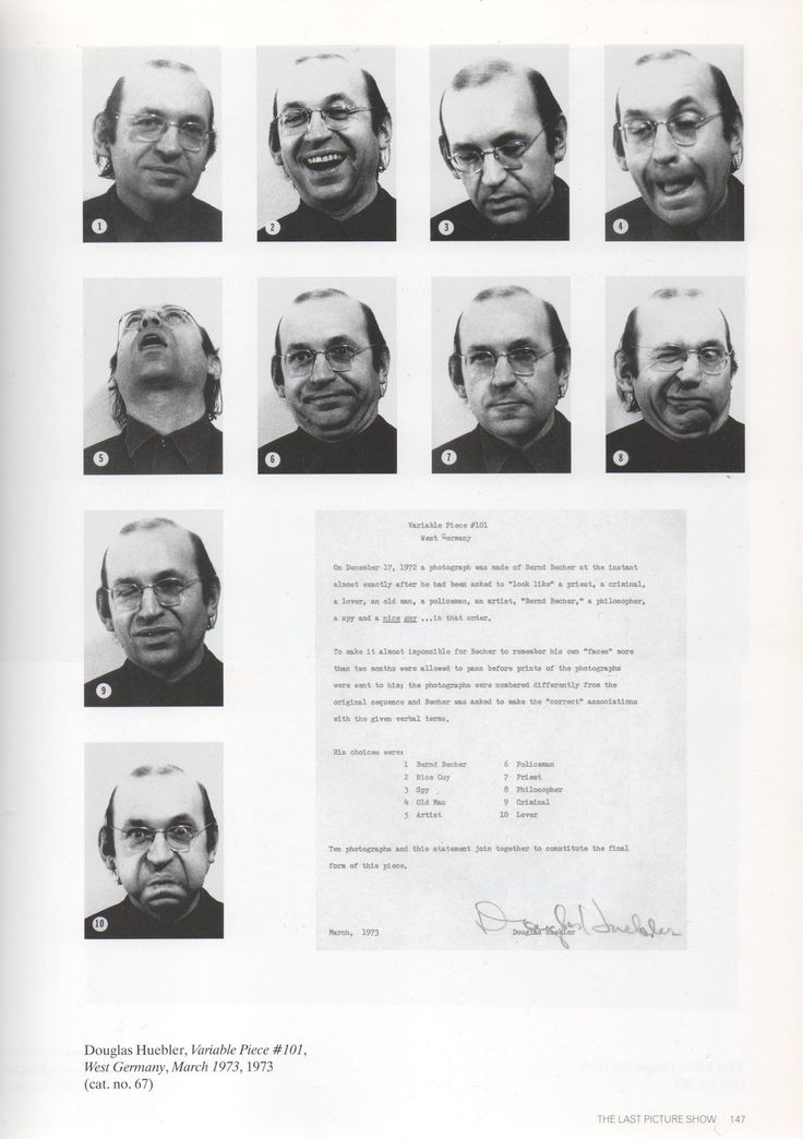 Douglas Huebler: Variable Piece #101, 1973. Documentation system with concept (typed on paper) and 10 photos.
