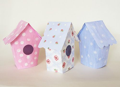 FREE cardboard bird house printable