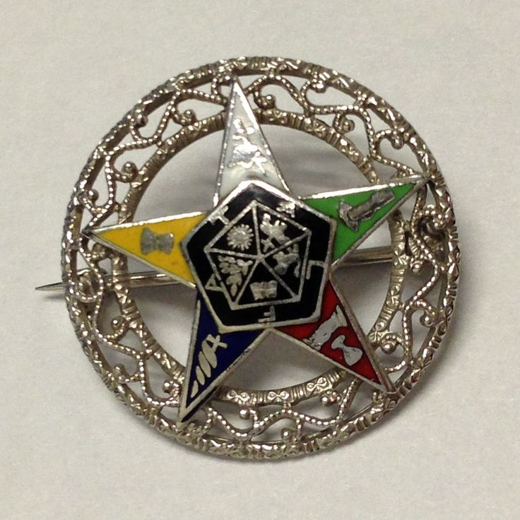 14K White Gold Fraternal Order of the Eastern Star Fraternal Filigree Circle Pin