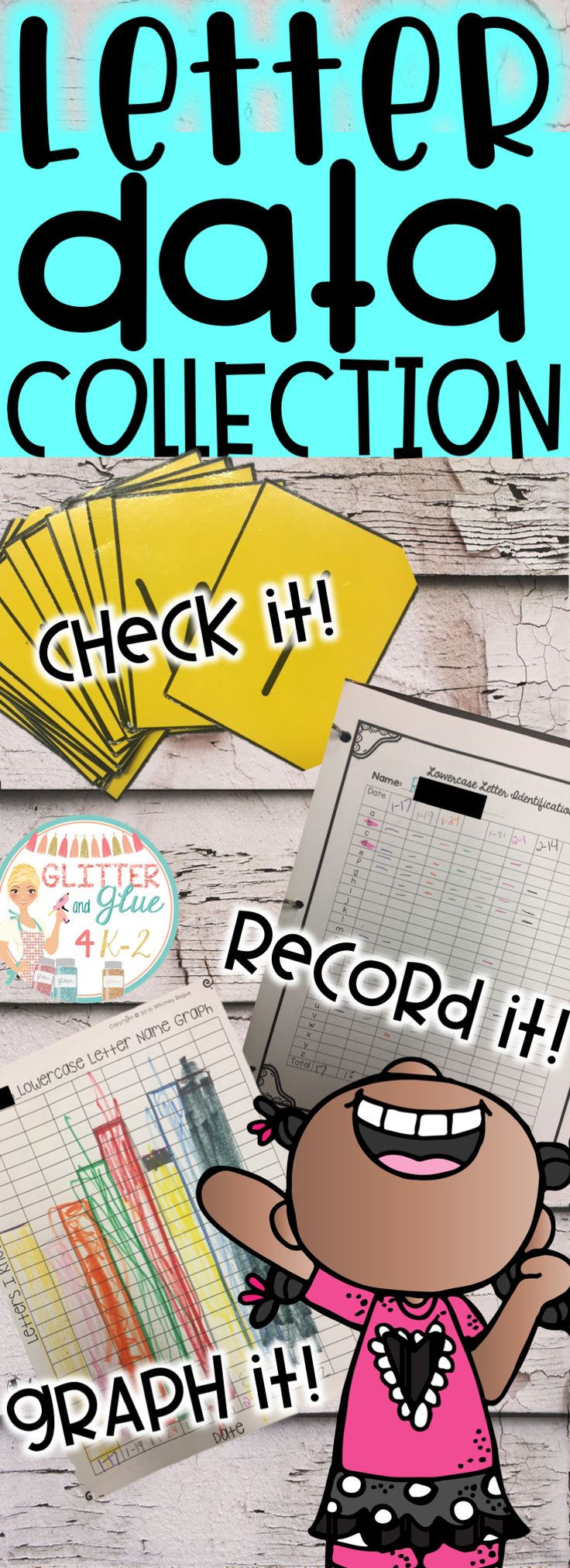 This is a great way to start collecting data on your students' letter names/ sounds! Get them motivated to learn their letters with their own graph while you keep data on their individual letters/sounds. Keywords: alphabet, data collection, letters, kindergarten, preschool, teacher resources, RTI, data graphs, flashcards