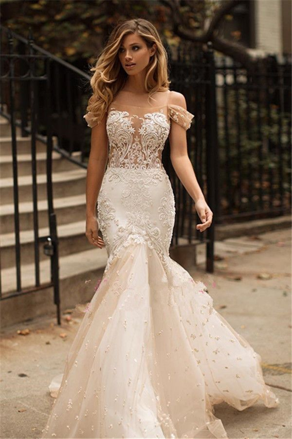 Mermaid Tulle Appliques Lace 2018 Wedding Dresses Champagne Bridal ...