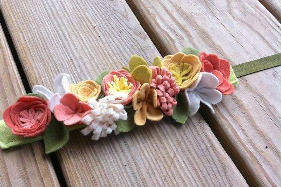 Felt Flower Crown // Mustard Yellow Blush White by fancyfreefinery, $20.00