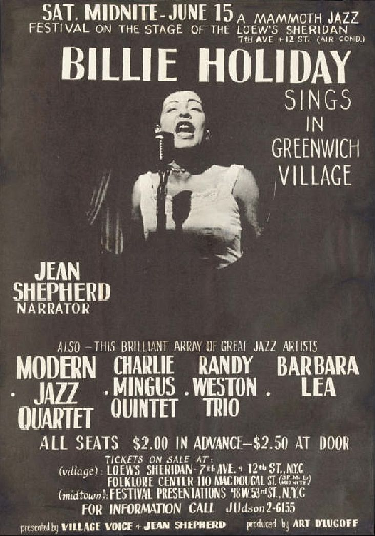 Billie Holiday Concert Poster — Lowe's Sheridan, New York, NY...Can you imagine paying $2.00 - $2.50 to see the 'Great Lady?'