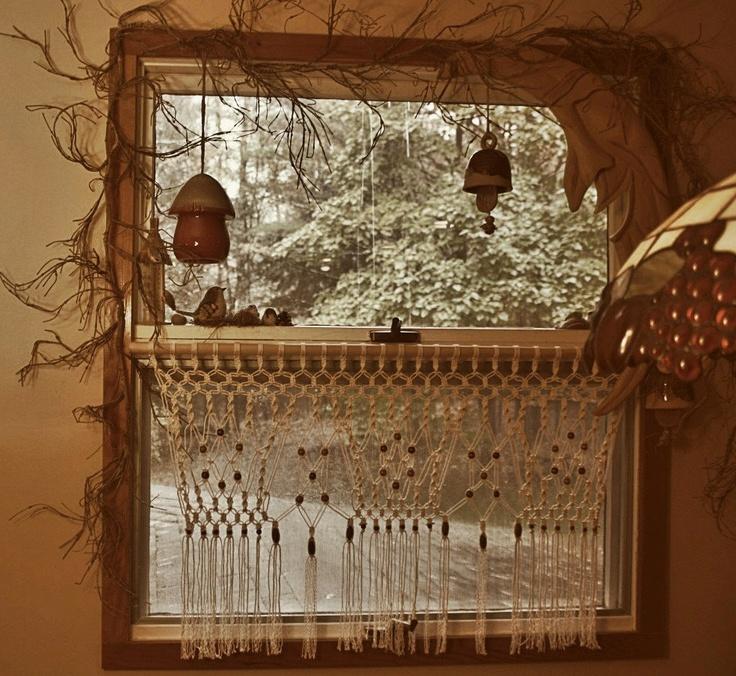 Vintage Retro 1960s 1970s Hippie Macrame Curtain Valance Window Treatment Made To Order Bohemian Gypsy Decor