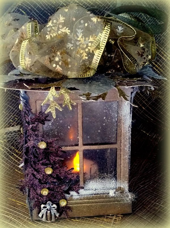 Christmas Lantern with tealight created using Sizzix Tim Holtz Window Die and embellishments from my2angels