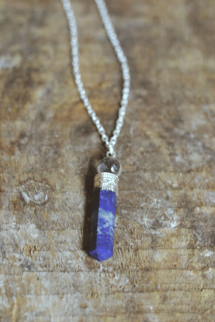 Lapis Lazuli pendant with silver embellishment and glass ball https://www.facebook.com/moonflowernz