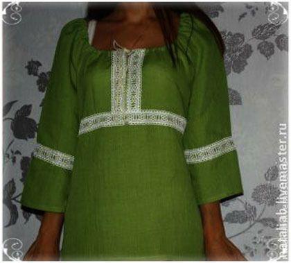 "Купить Льняная туника ""Green summer"" - лен, лен 100%, лён натуральный, льняная одежда"