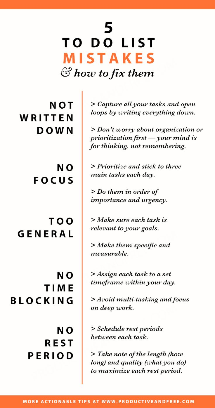 Infographic - To do list mistakes and how to fix them   Productivity   Time management   ProductiveandFree.com