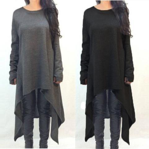 Autumn Winter Women Dress Long Sleeve Knitted Sweater Irregular Hem Plus Size S-3XL