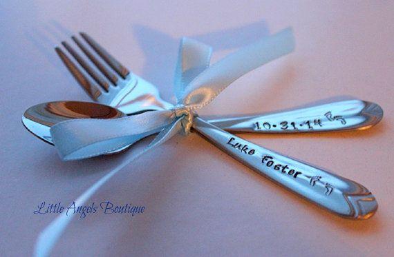Personalized Baby Fork Spoon Keepsake Baby by littleangelsboutique