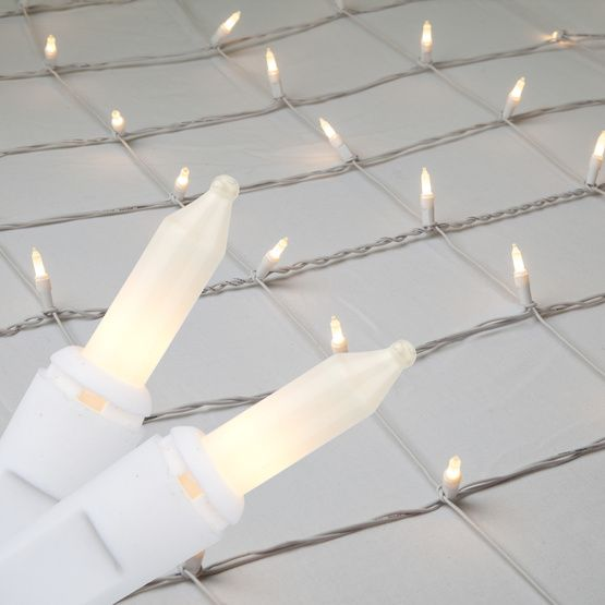 4' x 8' Net Lights - 200 White Frost Lamps - White Wire