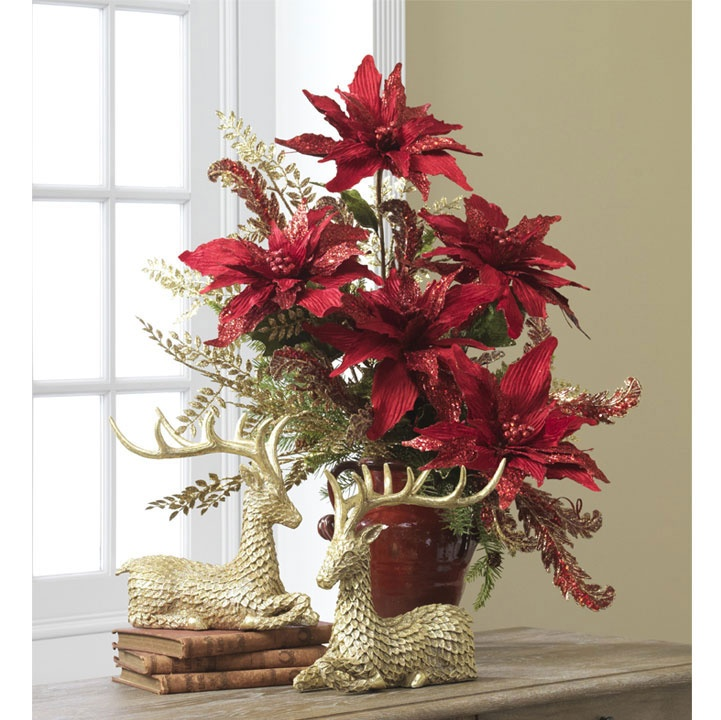 Poinsettia damask raz past arrangments pinterest for Poinsettia arrangements