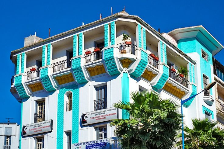 Architecture. Art Deco facade in the Mers Sultan neighborhood in Morocco.