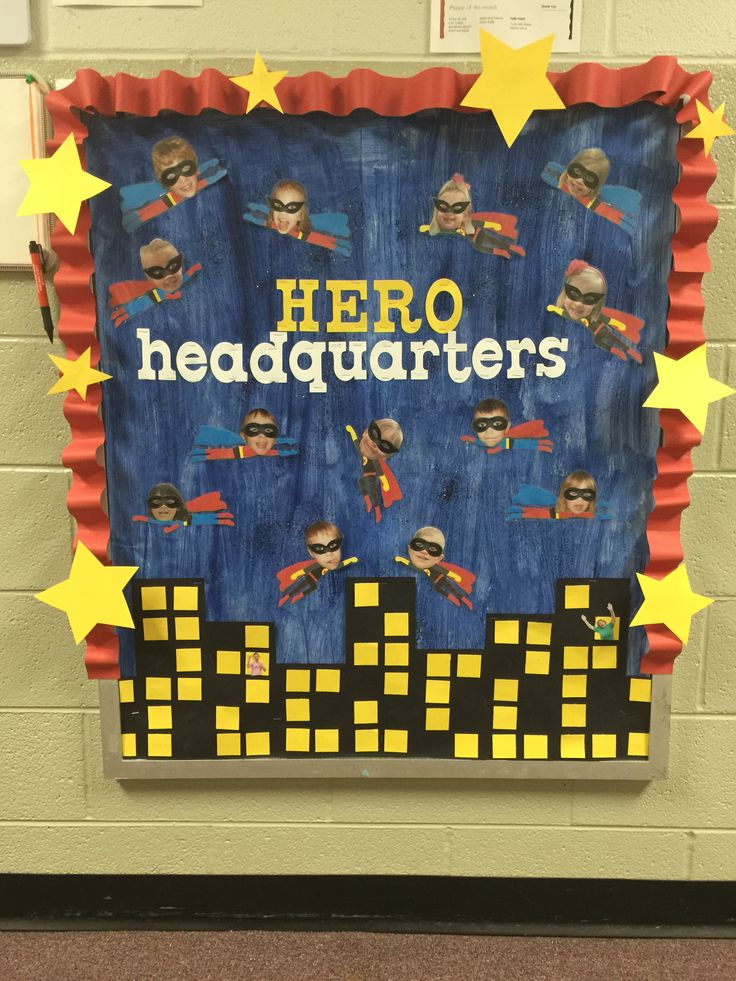 Superhero bulletin board preschool