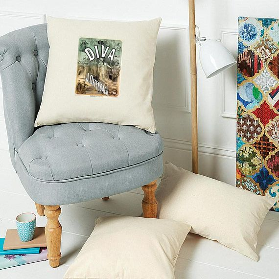 Large Natural Cushion Cover with a vintage 'Diva' #housewares #pillow @EtsyMktgTool #square #cushion #printedcushion #largecushioncover