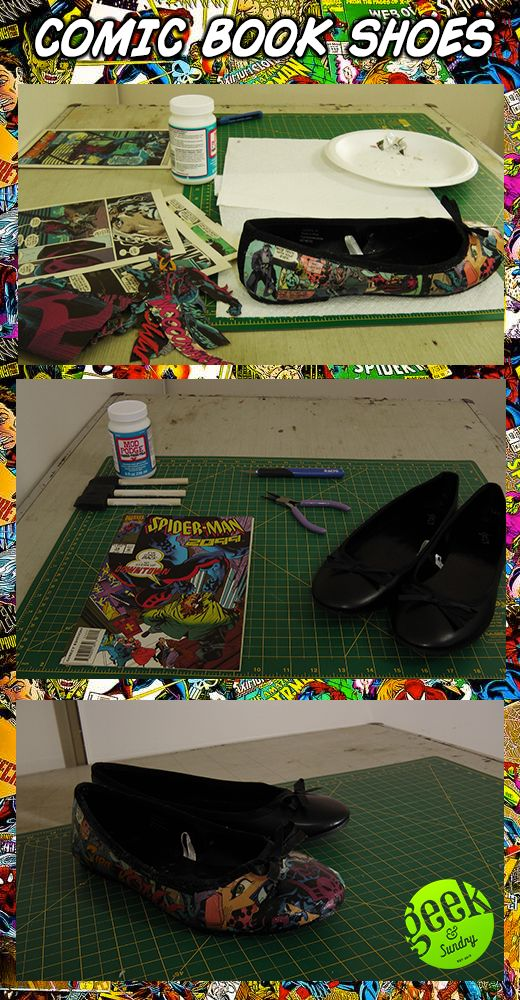 DIY COMIC BOOK SHOES! Click the pic for tutorial! diy, tutorial, comics, shoes, fashion, flats, comic books. Holy poop!