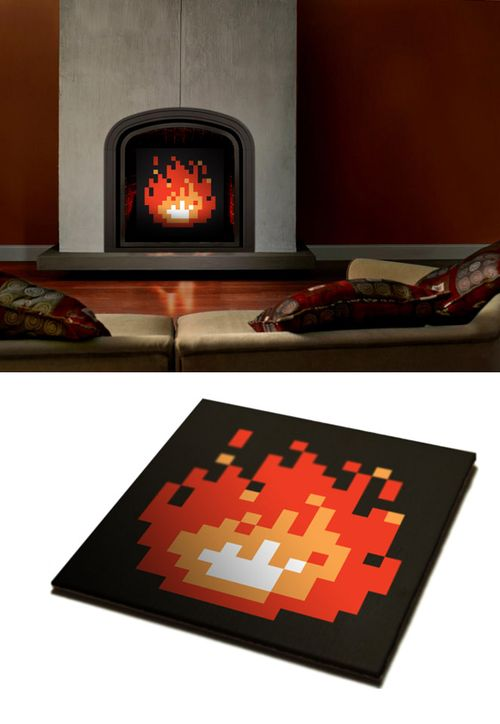 Wicked idea for the fireplace. I guess if the fireplace in the new home is our game room, this'll be the choice decor