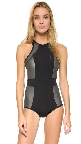 Beige, black DUSKII  swimsuit  for woman A sporty, racer back Duskii swimsuit in colorblock neoprene. Hidden back zip. 80% neoprene/10% polyester/10% nylon. Hand wash. Imported, China. Size & Fit. Available sizes: S,XS #bathingsuit