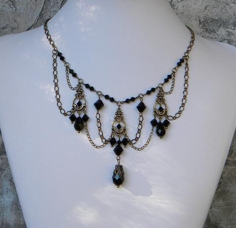 68 best jewelry made by me erica images on pinterest brass and black chandelier necklace set aloadofball Gallery