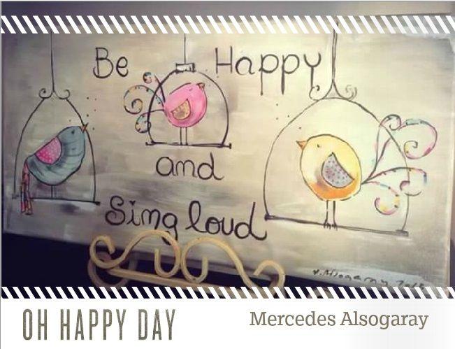 Acrilico. Happy birds